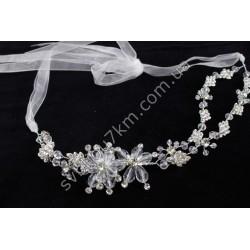 Венок свадебный для волос с кристаллами