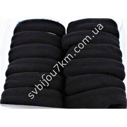 Резинка для волос бесшовная черная d 6 см