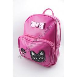 Рюкзак розовый с черным котиком