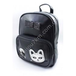 Рюкзак черный с белым котиком