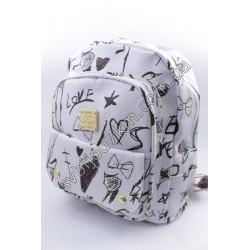 Рюкзак белый с черным принтом Love