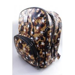 Рюкзак принт коричневый хаки с белыми звездами
