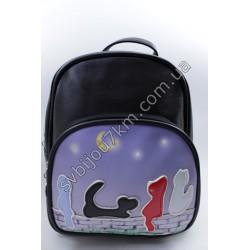 Рюкзак черный с синим карманом Котики