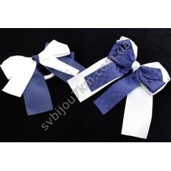 Бантик сине-белый на резинке для волос