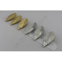 Заколка утка для волос Листик металлический
