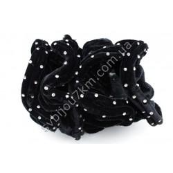Резинка для волос велюровая черная стразы в 2 ряда