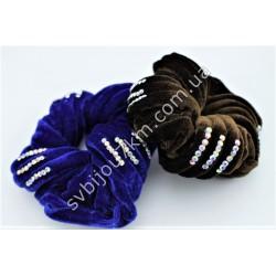 Резинка для волос велюровая со стразами