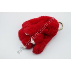 Брелок кролик красный натуральный мех
