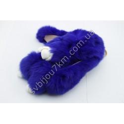 Брелок Кролик синий натуральный мех