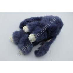 Брелок Кролик серый натуральный мех