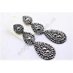 Серьги длинные Капельки в черном металле