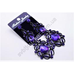 Серьги длинные в черном металле с синими кристаллами