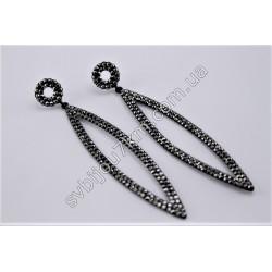 Серьги длинные на черном металле с черными стразами