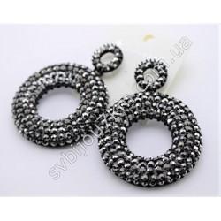 Серьги черные кольца со стразами