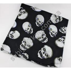 Косынка платок на голову черная с черепами