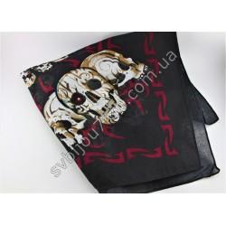 Косынка платок на голову черная с цветным рисунком