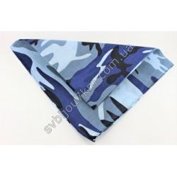 Косынка платок на голову принт камуфляж синий