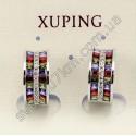 Серьги кольца с цветными камнями XUPING