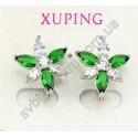 Серьги Цветок с зелеными кристаллами