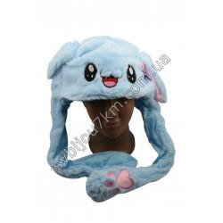 Шапка детская с подвижными ушками и LED подсветкой голубая