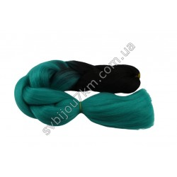 Канекалон для волос черно-изумрудный