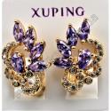 Серьги Xuping с сиреневыми камнями