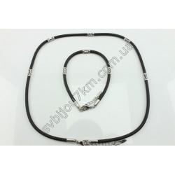 Комплект каучуковый жгут и браслет с серебристыми вставками