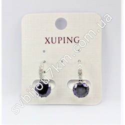 Серьги кольца Xuping с фиолетовыми кристаллами
