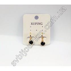 Серьги Xuping золотые с черными стразами