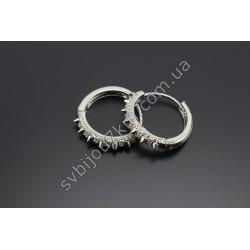 Серьги кольца со стразами