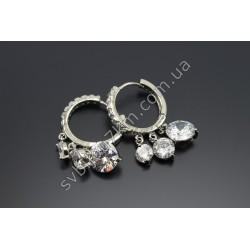 Серьги кольца с кристаллами