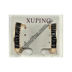 Серьги кольца Xuping с черными стразами