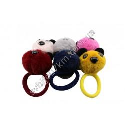 Резинки с цветным мехом Мишка