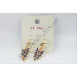 Серьги Xuping кольцо с листиком фиолетовые стразы