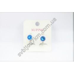 Серьги кольца Xuping голубые фианиты цвет металла серебро
