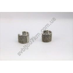 Серьги кольца Xuping с мелкими стразами цвет металла серебро