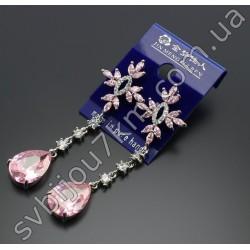 Серьги с розовыми кристаллами Swarovski