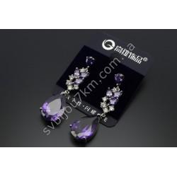 Серьги с фиолетовыми кристаллами Swarovski