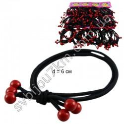 Резинка для волос двойная с красными бусинками