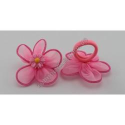 Резинки для волос детские пластиковый Цветочек на шифоне