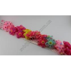 Резинки для волос детские Подсолнух на шифоновом бантике