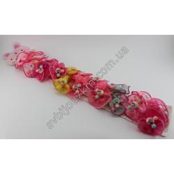 Резинки для волос детские Микки маус на шифоновом бантике
