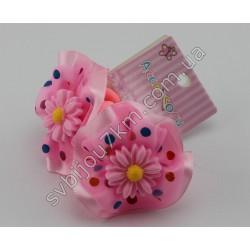 Резинки для волос детские Цветочек на шелковом бантике