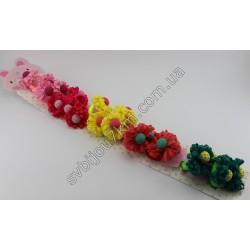 Резинки для волос детские тканевый цветочек