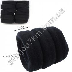 Резинка для волос бесшовная черная широкая