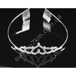 Диадема на обруче цвет металла серебро с гребешками