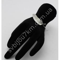 Браслет на руку серебряный листик d 6 см
