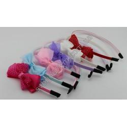 Обруч для волос шифоновый бантик в горошек
