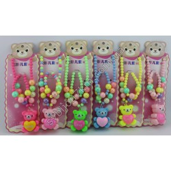 Набор детский Мишка (бусы,браслет) LED подсветка