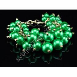 Браслет с бусинами в стиле Chanel зеленый